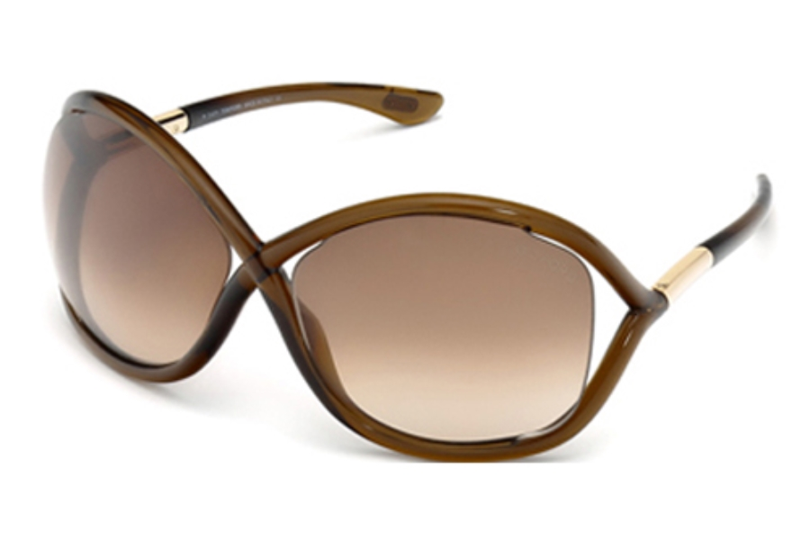 Tom Ford FT0009 Whitney Sunglasses in 692 Transparent Dark Brown/Rose Gold Metal w/ Gradient Brown Lenses
