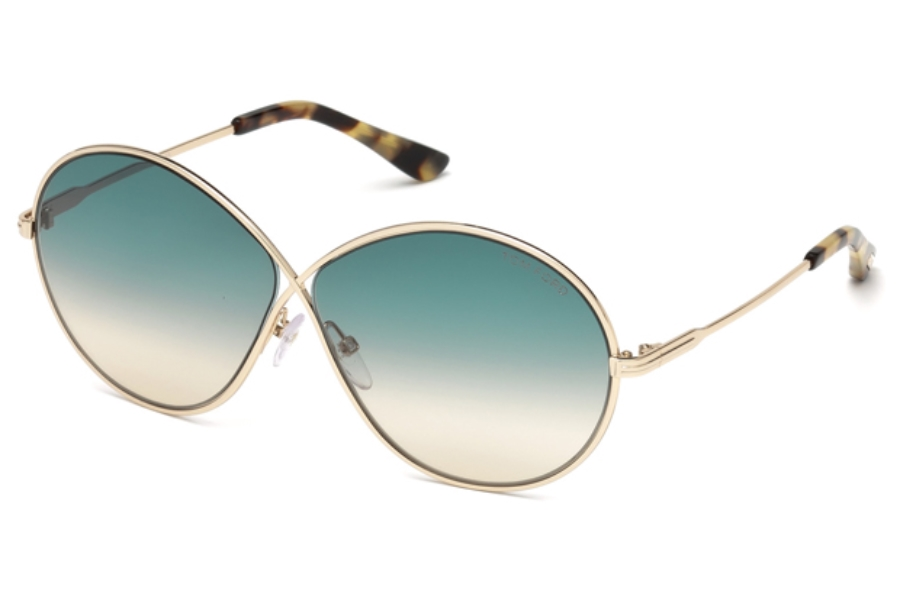 Tom Ford FT0564 Rania-02 Sunglasses in 28P - Shiny Rose Gold / Gradient Green