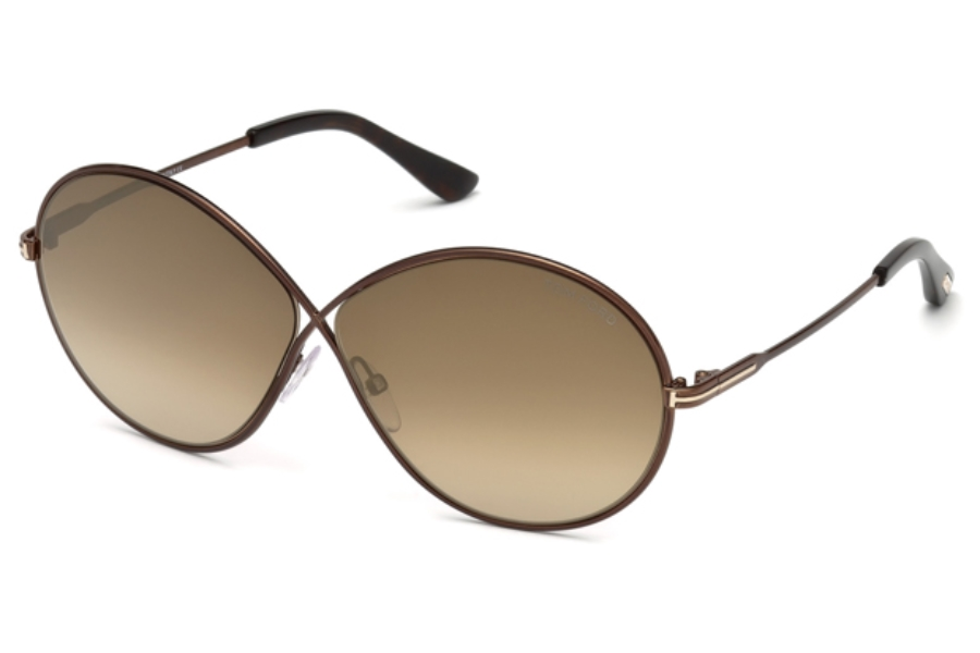 Tom Ford FT0564 Rania-02 Sunglasses in 48G - Shiny Dark Brown / Brown Mirror