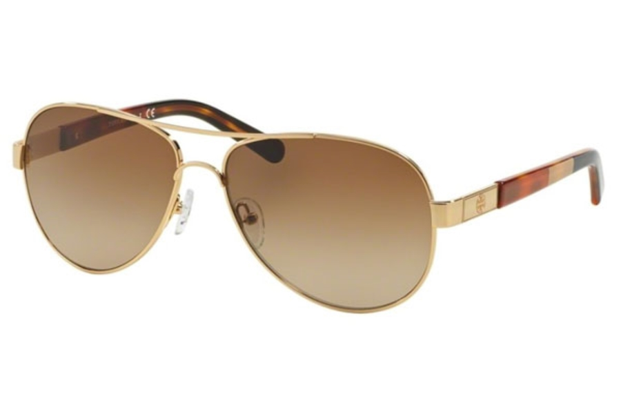 Tory Burch TY6010 Sunglasses in 420/13 Gold Block / Brown Gradient