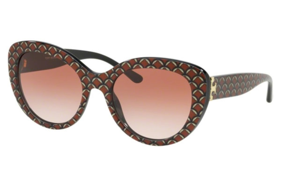 Tory Burch TY7121 Sunglasses in 173113 Eatern Print / Black / Pink Gradient