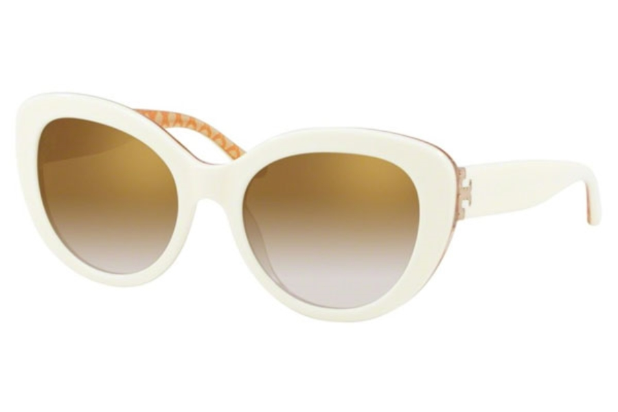 Tory Burch TY7121 Sunglasses in 17326E Ivory / Orange Circular T Prin / Gold Gradient Mirror