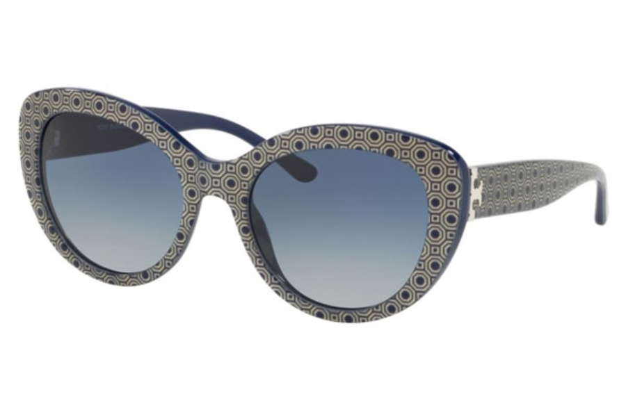 Tory Burch TY7121 Sunglasses in 17334L Octagon Square Print / Navy / Light Grey Gradient Dark Blue