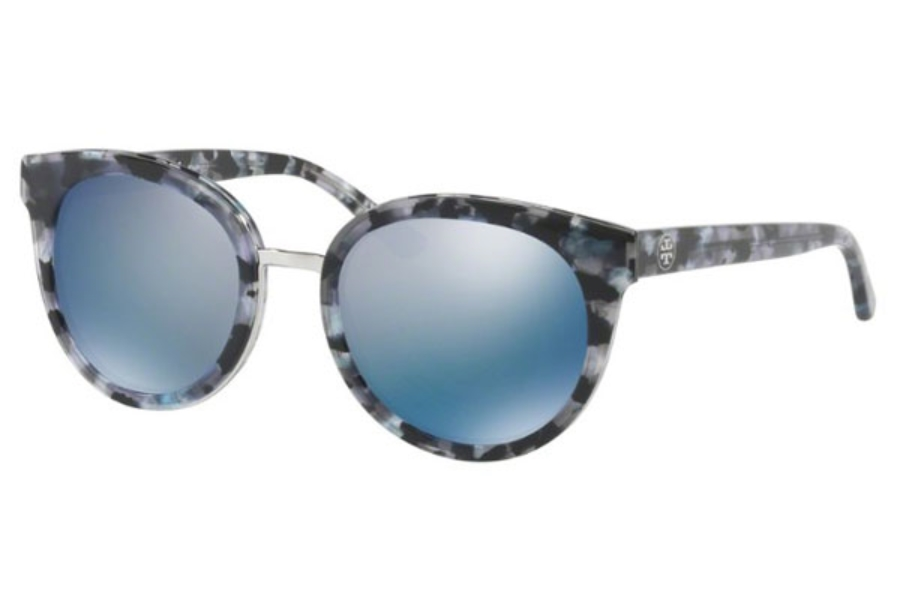 Tory Burch TY7062 Sunglasses in 168522 Black Pearl Tort / Blue Flash Polarized Mirror (Discontinued)