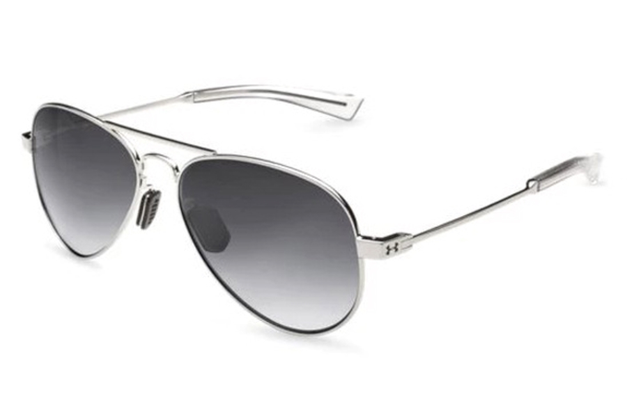 Under Armour UA Getaway M Sunglasses in 8600118-921406 Gloss Silver / Clear Gray Gradient