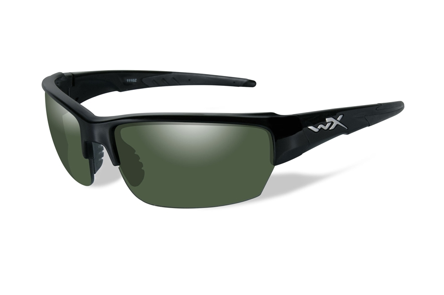 Wiley X WX SAINT Sunglasses in CHSAI04 Gloss Black w/ Smoke Green Polarized Lenses