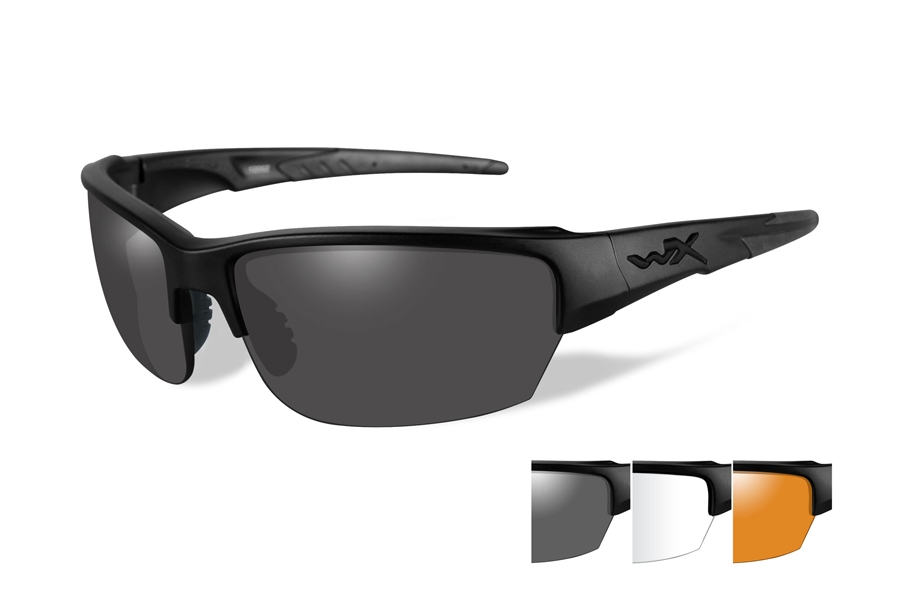 Wiley X WX SAINT Sunglasses in CHSAI06 Matte Black w/ Smoke Grey, Clear, & Light Rust Lenses