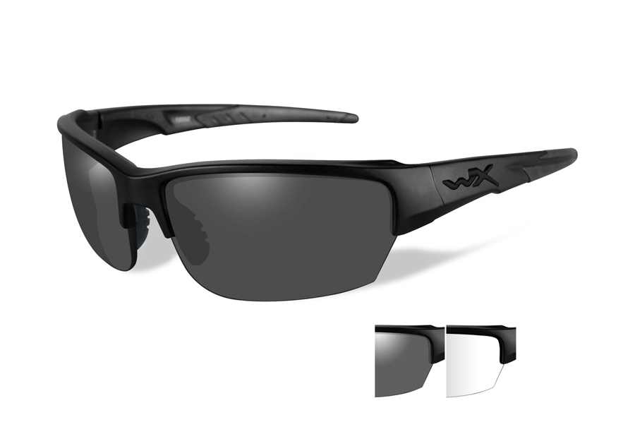 Wiley X WX SAINT Sunglasses in CHSAI07 Matte Black w/ Smoke Grey & Clear Lenses