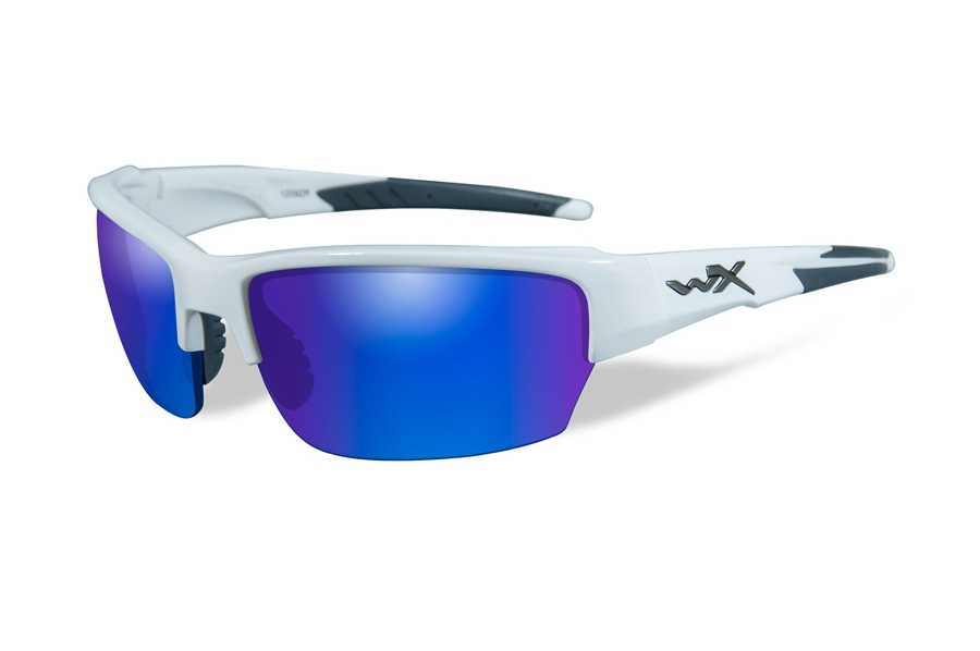 Wiley X WX SAINT Sunglasses in CHSAI09 Gloss White w/ Blue Mirror Polarized Lenses (Discontinued)