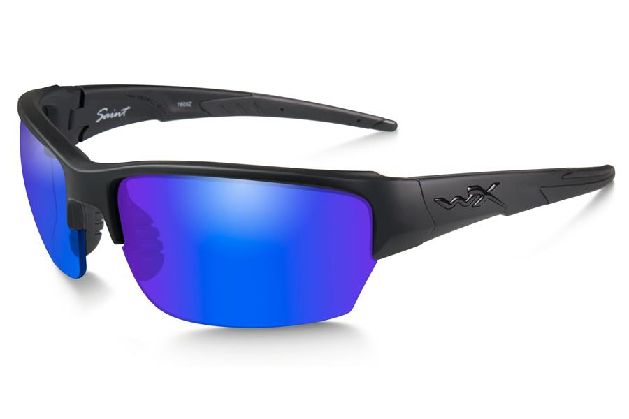 Wiley X WX SAINT Sunglasses in CHSAI29 Matte Black w/Polarized Blue Mirror (Green) Lens