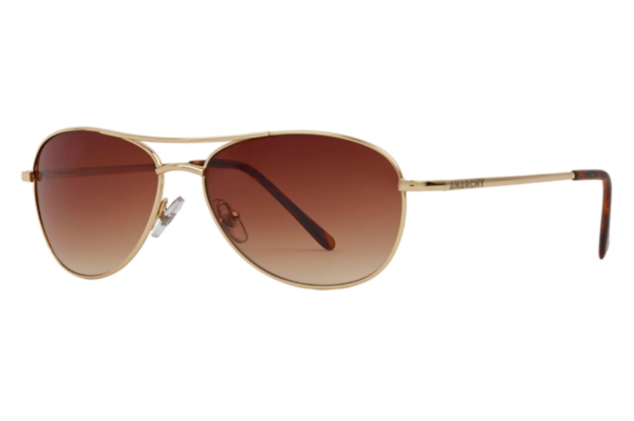 Anarchy Fugitive Sunglasses in Shiny Pale Gold w/ Brown Gradient Polarized Lenses