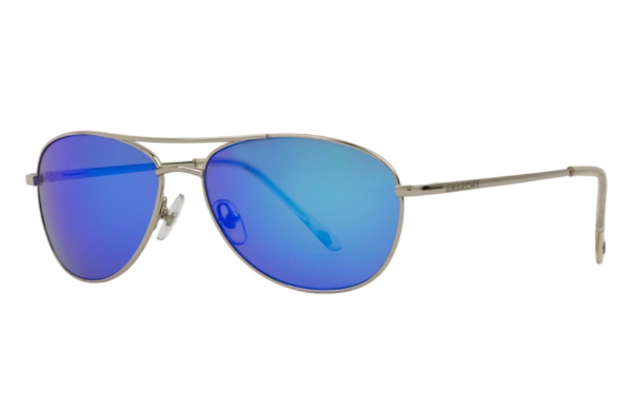 Anarchy Fugitive Sunglasses in Shiny Silver w/ Smoke Blue Mirror Lense