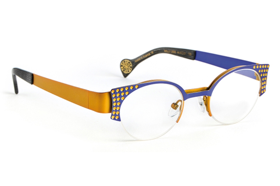 BOZ Willy Eyeglasses in 2550 Electric Blue - Yellow