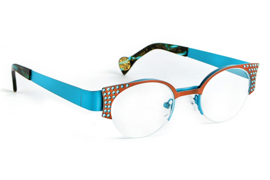 BOZ Willy Eyeglasses in 9225 Brown - Blue - Blue Strass