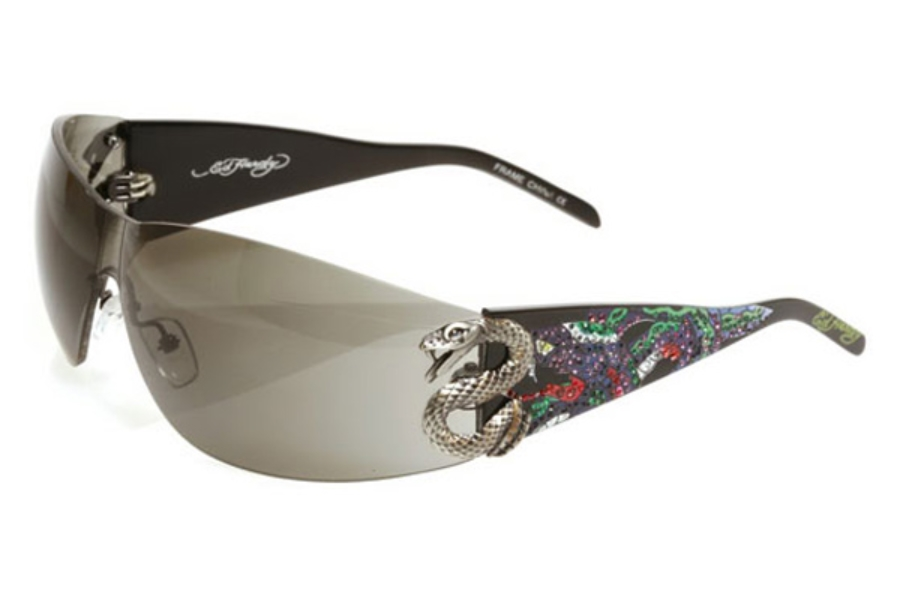 Ed Hardy EHS 005 Snake 2 Sunglasses in Black / Grey (BLK)