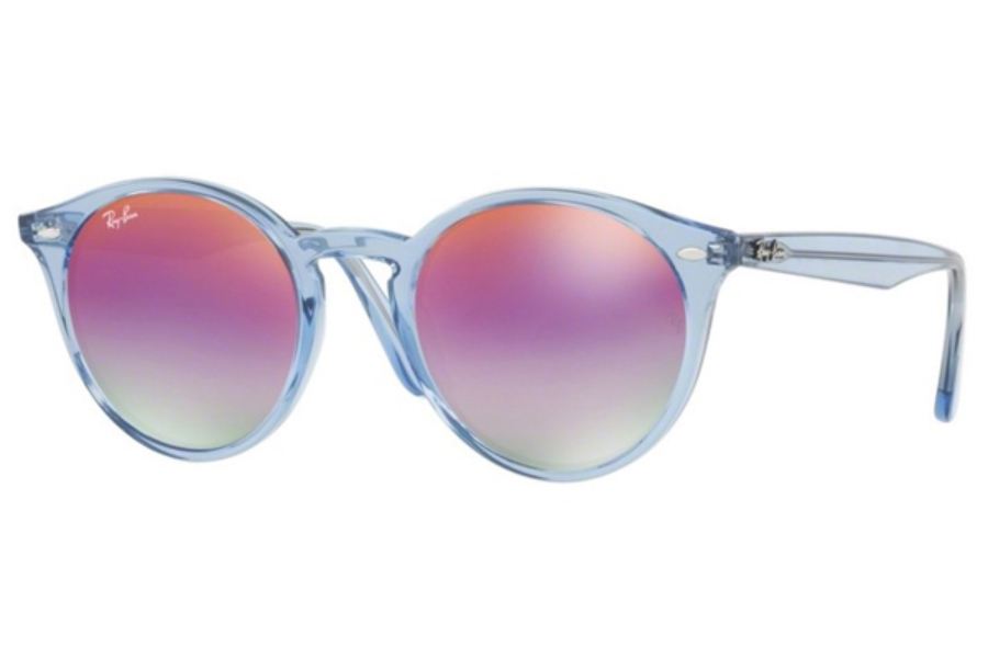 Ray-Ban RB 2180 Sunglasses in 6278A9 Shiny Light Blue / Green Mirror Lillac Gradient V (Discontinued)