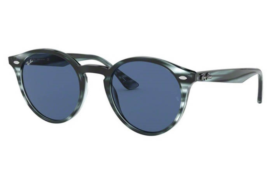 Ray-Ban RB 2180 Sunglasses in 643280 Stripped Blue Havana/Dark Blue