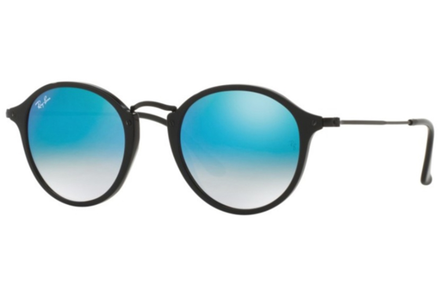 Ray-Ban RB 2447 Sunglasses in 901/4O Shiny Black / Mirror Gradient Blue (Discontinued)