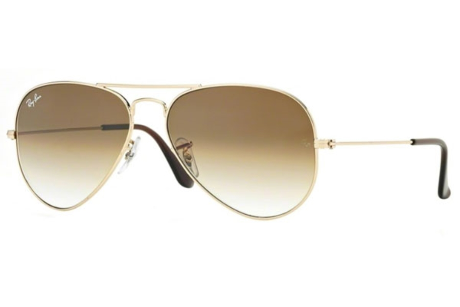 Ray-Ban RB 3025 (Aviator Large Metal) Sunglasses in 001/51 Gold w/ Crystal Brown, DBL mirror Gradient Lenses