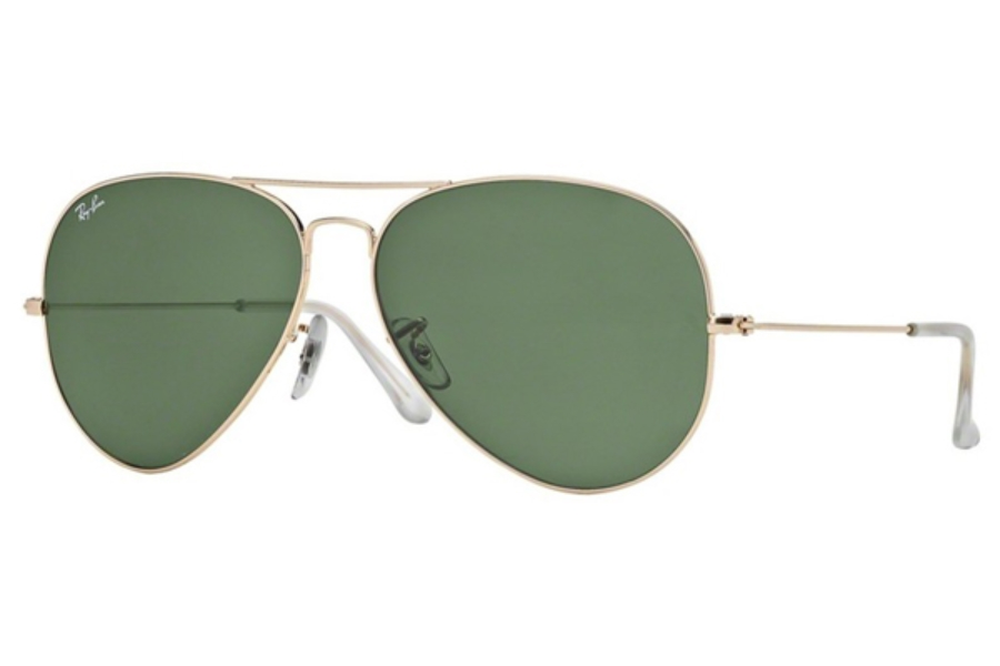 Ray-Ban RB 3025 (Aviator Large Metal) Sunglasses in 001 Gold w/ Crystal Green Lenses (62 Eyesize Only)