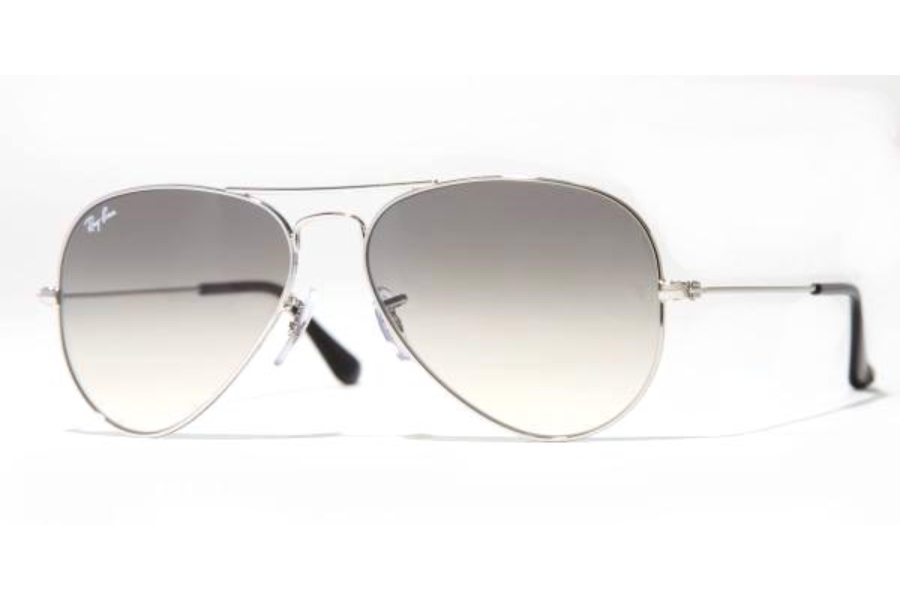 Ray-Ban RB 3025 (Aviator Large Metal) Sunglasses in 003/32 Silver w/Crystal Grey Gradient Lenses