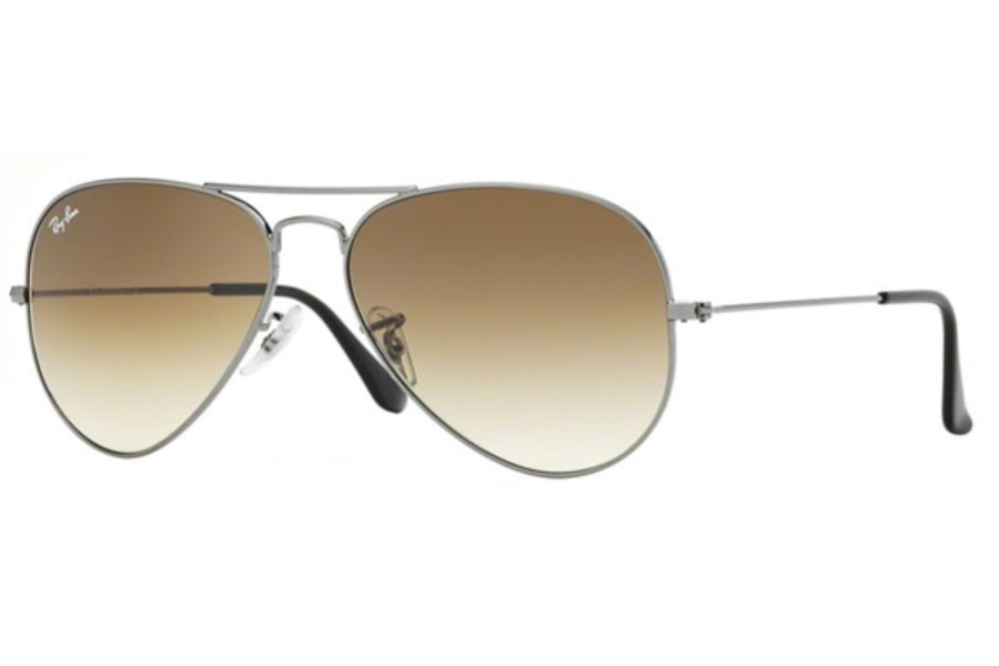 Ray-Ban RB 3025 (Aviator Large Metal) Sunglasses in 004/51 Gunmetal Crystal Brown Gradient