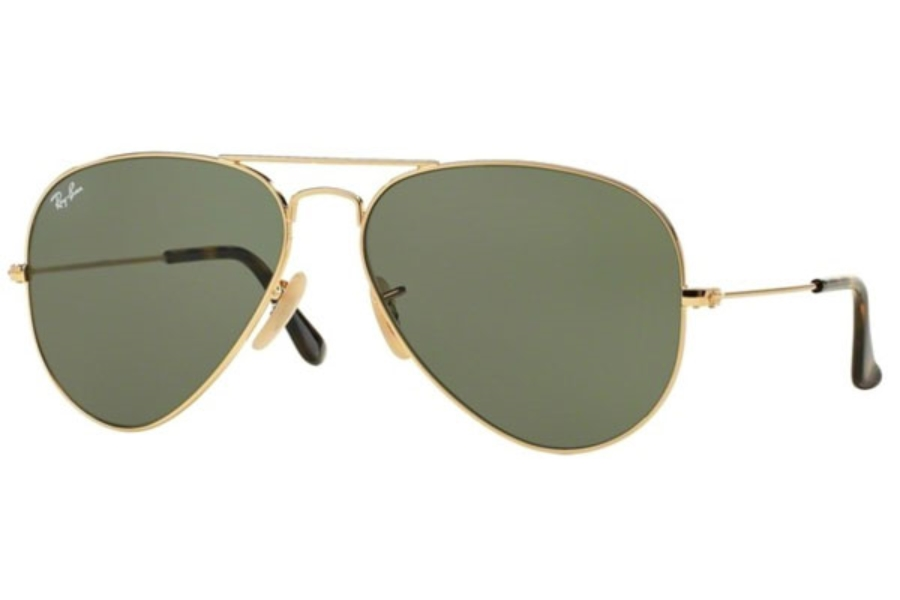 Ray-Ban RB 3025 (Aviator Large Metal) Sunglasses in 181 Gold Dark Green (58 and 62 Eyesizes Only)