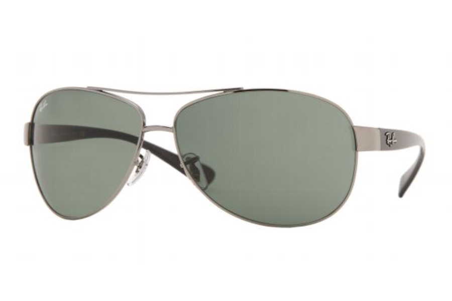 Ray-Ban RB 3386 Sunglasses in 004/71 Gunmetal w/green lenses