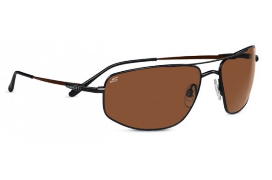 Serengeti Levanto Sunglasses in 7587 Satin Dark Brown w/ Polarized Drivers Lenses
