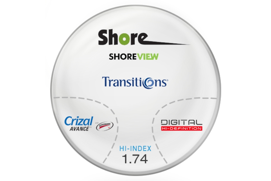 Shore Lens Shore View Digital High Index 1.74 Transitions (Grey) with Crizal Avance UV™ AR Progressive Lenses in Shore Lens Shore View Digital High Index 1.74 Transitions (Grey) with Crizal Avance UV™ AR Progressive Lenses