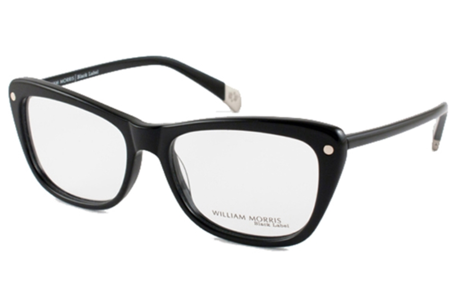 William Morris Black Label BL 100 Eyeglasses in C1 Shiny Black/Silver Dot